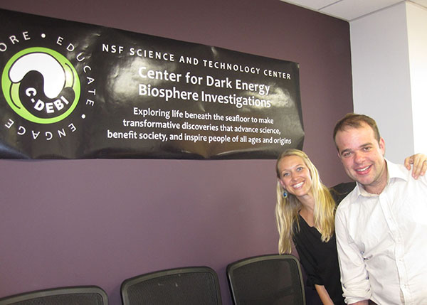 Rebekah Cummings and Dr. Darch perform site visit to the Center for Dark Energy Biosphere Investigations